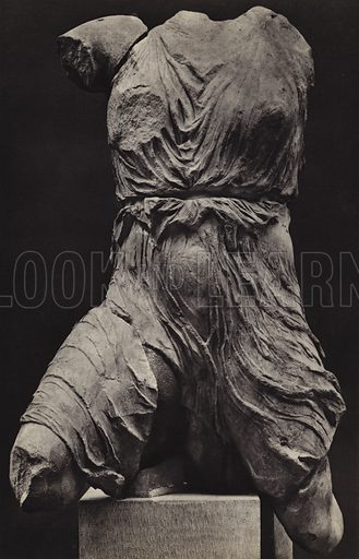 Victory, British Museum. Illustration for Le Sculptures du Parthenon (Editions Tel, c 1930). Gravure printed. Photo is credited to Mansell, but most likely taken by the British Museum's photographer, Stephen Thompson.