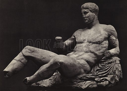 Theseus or Dionysos, British Museum.  Illustration for Le Sculptures du Parthenon (Editions Tel, c 1930).  Gravure printed.  Photo is credited to Mansell, but most likely taken by the British Museum's photographer, Stephen Thompson.