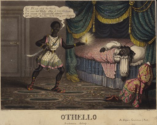 Tregears Black Jokes: Othello, Desdemona Asleep. Published by G S Tregear, London, 1834. Note: The title at the top of the print has been cut off, but the image itself is in exceptionally good condition.