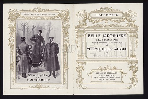 Pages from Belle Jardiniere catalogue of men's fashion, Winter 1905/06. Other pages (9 spreads) available.