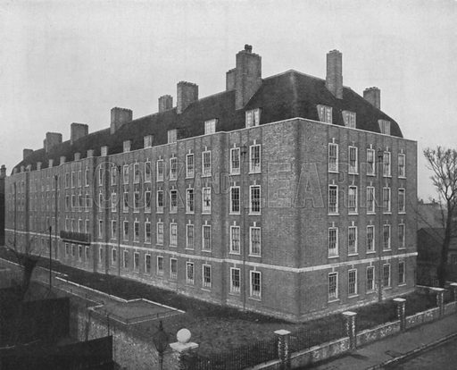 Tenement flats, Fulham, London. Illustration for Flats, Design and Equipment, by H Ingham Ashworth (Pitman, 1936).