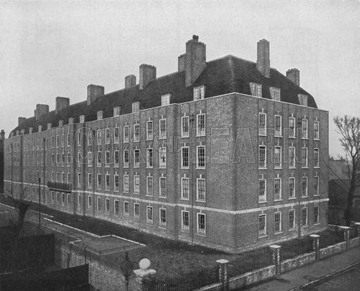 Tenement flats, Fulham, London.  Illustration for Flats, Design and Equipment, by H Ingham Ashworth (Pitman, 1936).