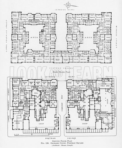 Plans, Orchard Court, Portman Square, London.  Illustration for Flats, Design and Equipment, by H Ingham Ashworth (Pitman, 1936).