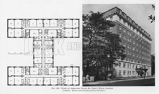 Flats, Abercorn Place, St John's Wood, London.  Illustration for Flats, Design and Equipment, by H Ingham Ashworth (Pitman, 1936).