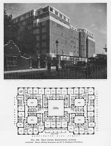 Troy Court, Kensington, London.  Illustration for Flats, Design and Equipment, by H Ingham Ashworth (Pitman, 1936).