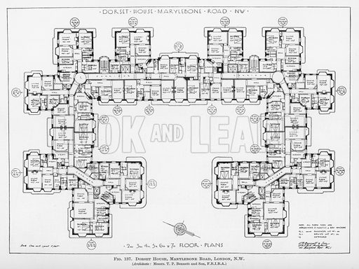 Dorset House, Marylebone Road, London NW.  Illustration for Flats, Design and Equipment, by H Ingham Ashworth (Pitman, 1936).