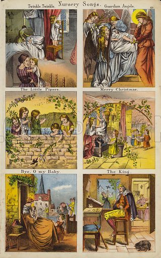 Twinkle Twinkle; Guardian Angels; The Little Pipers; Merry Christmas; Bye O My Baby; The King. Illustration for The Prince of Nursery Playmates (Sampson Low, c 1885).