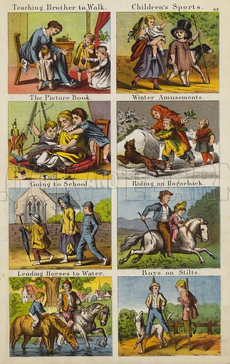 Teaching Brother To Walk; Children's Sports; The Picture Book; Winter Amusements; Going To School; Riding On Horseback; Leading Horses To Water; Boys On Stilts.  Illustration for The Prince of Nursery Playmates (Sampson Low, c 1885).