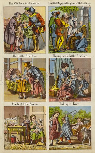 The Children In The Wood; The Blind Beggar's Daughter Of Bethnal Green; The Little Brother; Playing With Little Brother; Feeding Little Brother; Taking A Ride.  Illustration for The Prince of Nursery Playmates (Sampson Low, c 1885).