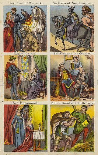 Guy Earl Of Warwick; Sir Bevis Of Southampton; Patient Grissel; The King And The Cobbler; Fair Rosamond; Robin Hood And Little John. Illustration for The Prince of Nursery Playmates (Sampson Low, c 1885).