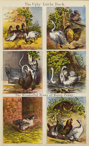 The Ugly Little Duck; The Wonderful Story Of Henny Penny. Illustration for The Prince of Nursery Playmates (Sampson Low, c 1885).