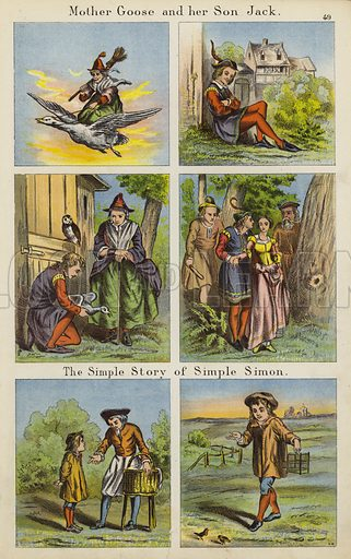 Mother Goose And Her Son Jack; The Simple Story Of Simple Simon. Illustration for The Prince of Nursery Playmates (Sampson Low, c 1885).