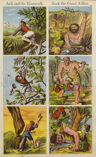 Jack And The Beanstalk; Jack The Giant Killer.  Illustration for The Prince of Nursery Playmates (Sampson Low, c 1885).
