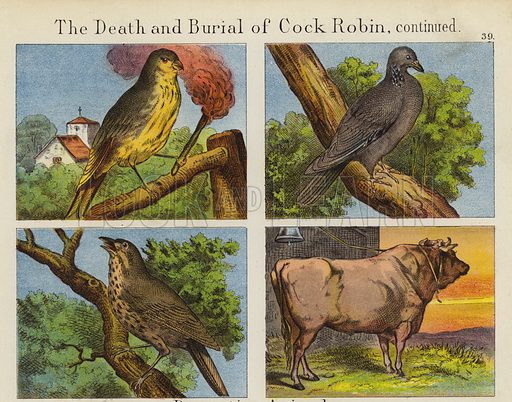 The Death And Burial Of Cock Robin. Illustration for The Prince of Nursery Playmates (Sampson Low, c 1885).