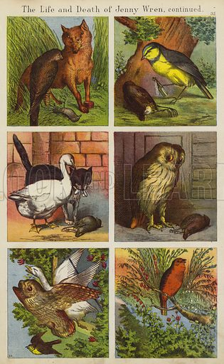 The Life And Death Of Jenny Wren.  Illustration for The Prince of Nursery Playmates (Sampson Low, c 1885).