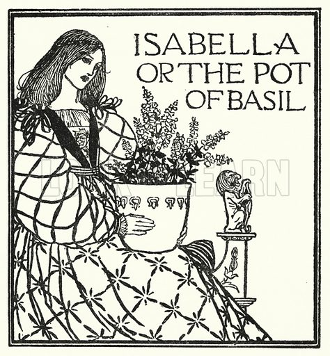 Isabella or The Pot of Basil.  Illustration for Poems by John Keats with illustrations by Robert Anning Bell (George Bell, 1898).