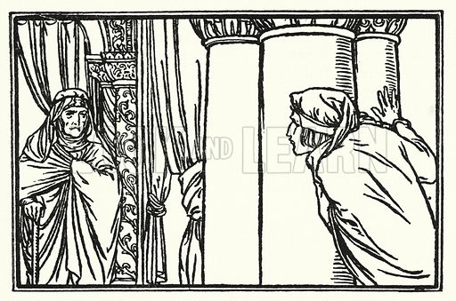 The Eve of St Agnes. Illustration for Poems by John Keats with illustrations by Robert Anning Bell (George Bell, 1898).