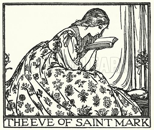 The Eve of St Mark. Illustration for Poems by John Keats with illustrations by Robert Anning Bell (George Bell, 1898).