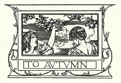 To Autumn.  Illustration for Poems by John Keats with illustrations by Robert Anning Bell (George Bell, 1898).