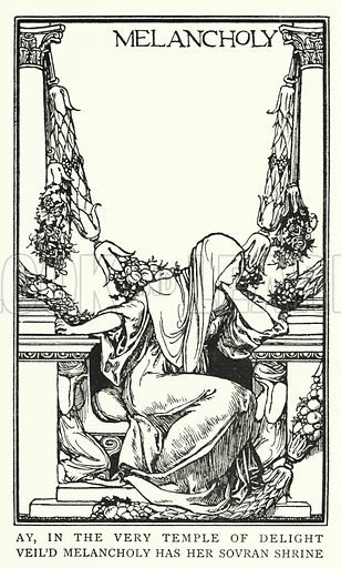 Melancholy. Illustration for Poems by John Keats with illustrations by Robert Anning Bell (George Bell, 1898).