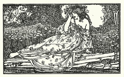 Fragment of an Ode to Maia.  Illustration for Poems by John Keats with illustrations by Robert Anning Bell (George Bell, 1898).