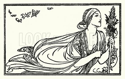Sleep And Poetry.  Illustration for Poems by John Keats with illustrations by Robert Anning Bell (George Bell, 1898).