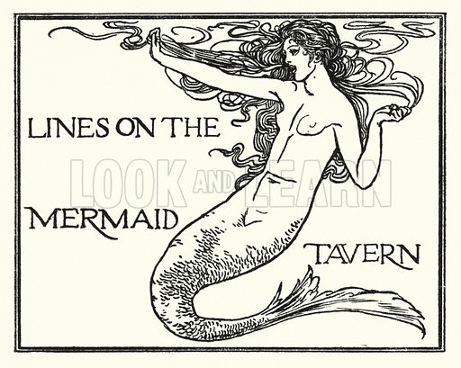 Lines on the Mermaid Tavern.  Illustration for Poems by John Keats with illustrations by Robert Anning Bell (George Bell, 1898).