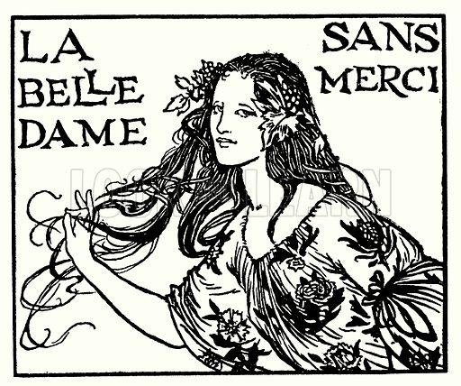 La Belle Dame Sans Merci.  Illustration for Poems by John Keats with illustrations by Robert Anning Bell (George Bell, 1898).  Note: Image has been digitally enhanced to permit repro at large size.