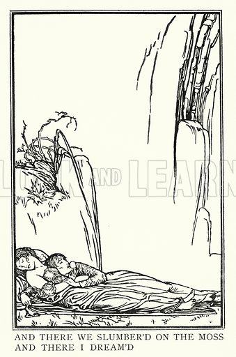 La Belle Dame Sans Merci.  Illustration for Poems by John Keats with illustrations by Robert Anning Bell (George Bell, 1898).