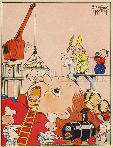 Illustration for Gulliver's Travels.  Illustration for les Voyages de Gulliver D'Apres Swift, Adaption de Madeleine Charlier (Gordinne, 1939).