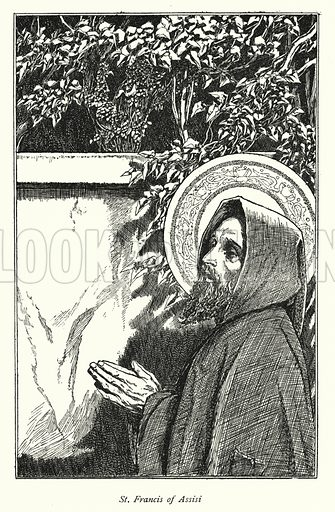 St Francis of Assisi.  Illustration for A Child's Book of Saints by William Canton (J M Dent, 1902).