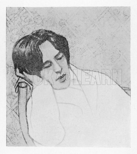 Portrait of a young Oscar Wilde, asleep.  Illustration for Oscar Wilde In Memoriam by Andre Gide (18e edition, Mercure de France, 1938).