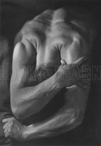 Illustration for The Male Body (Seen by the Camera Series, George Routledge, c 1941).  Photos of Billy Frick, according to one bookseller's catalogue.  No photo credit given.  Striking examples of the cult of the male body beautiful.