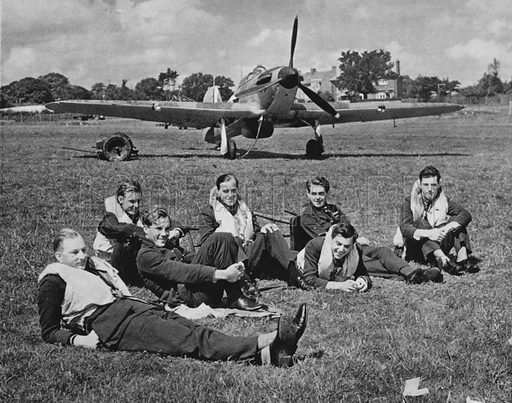Fighter pilots resting between battles, autumn afternoon, England, 1940.  Illustration for The RAF in Action (A&C Black, 1941). Gravure printed.