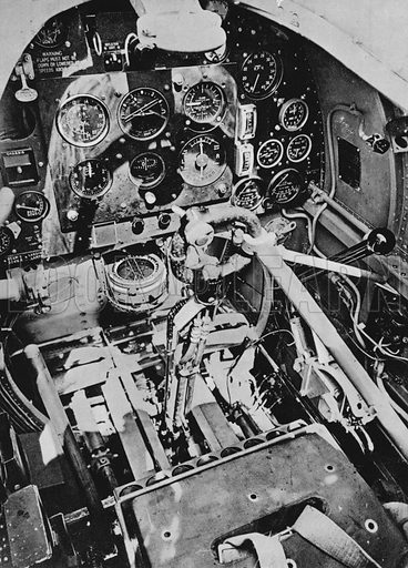 Instrument panel of a Spitfire.  Illustration for The RAF in Action (A&C Black, 1940).  Gravure printed.