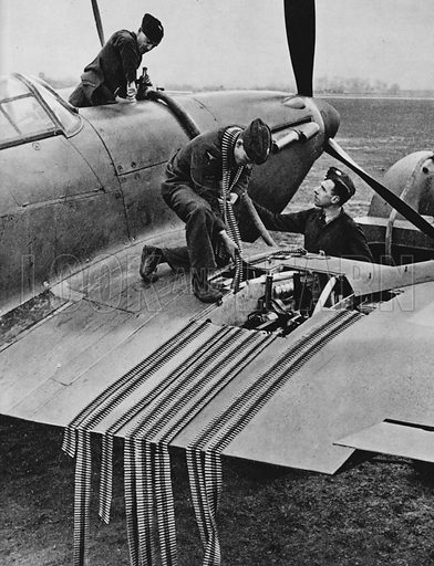 A fighter's machine guns are reloaded and petrol tank refilled on return to base.  Illustration for The RAF in Action (A&C Black, 1940).  Gravure printed.