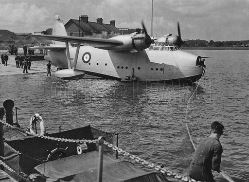 Saro Lerwick high-speed long-range flying boat, with Bristol Hercules engines. Illustration for The RAF in Action (A&C Black, 1940). Gravure printed.