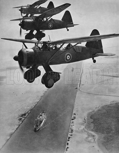 Lysanders, over the Suez Canal.  Illustration for The RAF in Action (A&C Black, 1940).  Gravure printed.