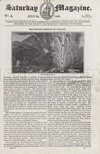 The Boiling Springs of Iceland, View of the Great Geyser.  Illustration for The Saturday Magazine, 28 July 1832.