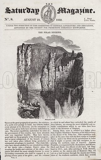 The Polar Regions, Wilberforce Falls. Illustration for The Saturday Magazine, 18 August 1832.