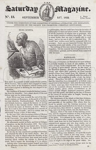 Duns Scotus.  Illustration for The Saturday Magazine, 15 September 1832.