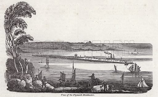 View of the Plymouth Breakwater. Illustration for The Saturday Magazine, October 1832.
