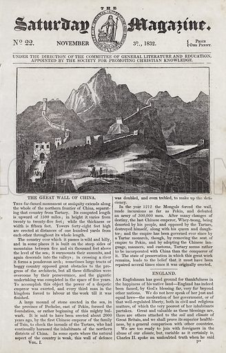 The Great Wall of China.  Illustration for The Saturday Magazine, 3 Novemver 1832.