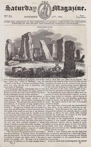 Stonehenge.  Illustration for The Saturday Magazine, 17 November 1832.