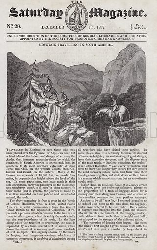 Mountain travelling in South America. Illustration for The Saturday Magazine, 8 December 1832.