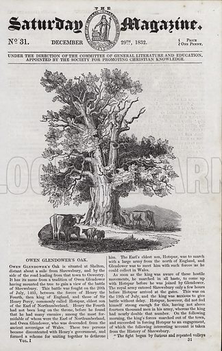 Owen Glendower's Oak. Illustration for The Saturday Magazine, 29 December 1832.