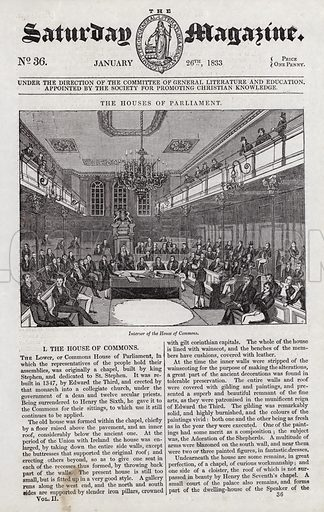 The Houses of Parliament, Interior of the House of Commons. Illustration for The Saturday Magazine, 26 January 1833.