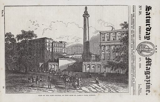The York Column, viewed from St James's Park, London. Illustration for The Saturday Magazine, 2 February 1833.