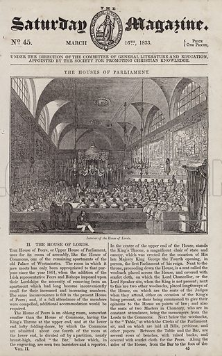 The Houses of Parliament, Interior of the House of Lords. Illustration for The Saturday Magazine, 16 March 1833.