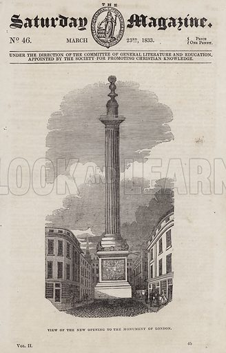 View of the new opening to The Monument of London. Illustration for The Saturday Magazine, 23 March 1833.